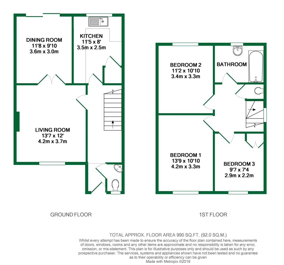 Floorplans For Caldbeck Drive, Woodley, Reading