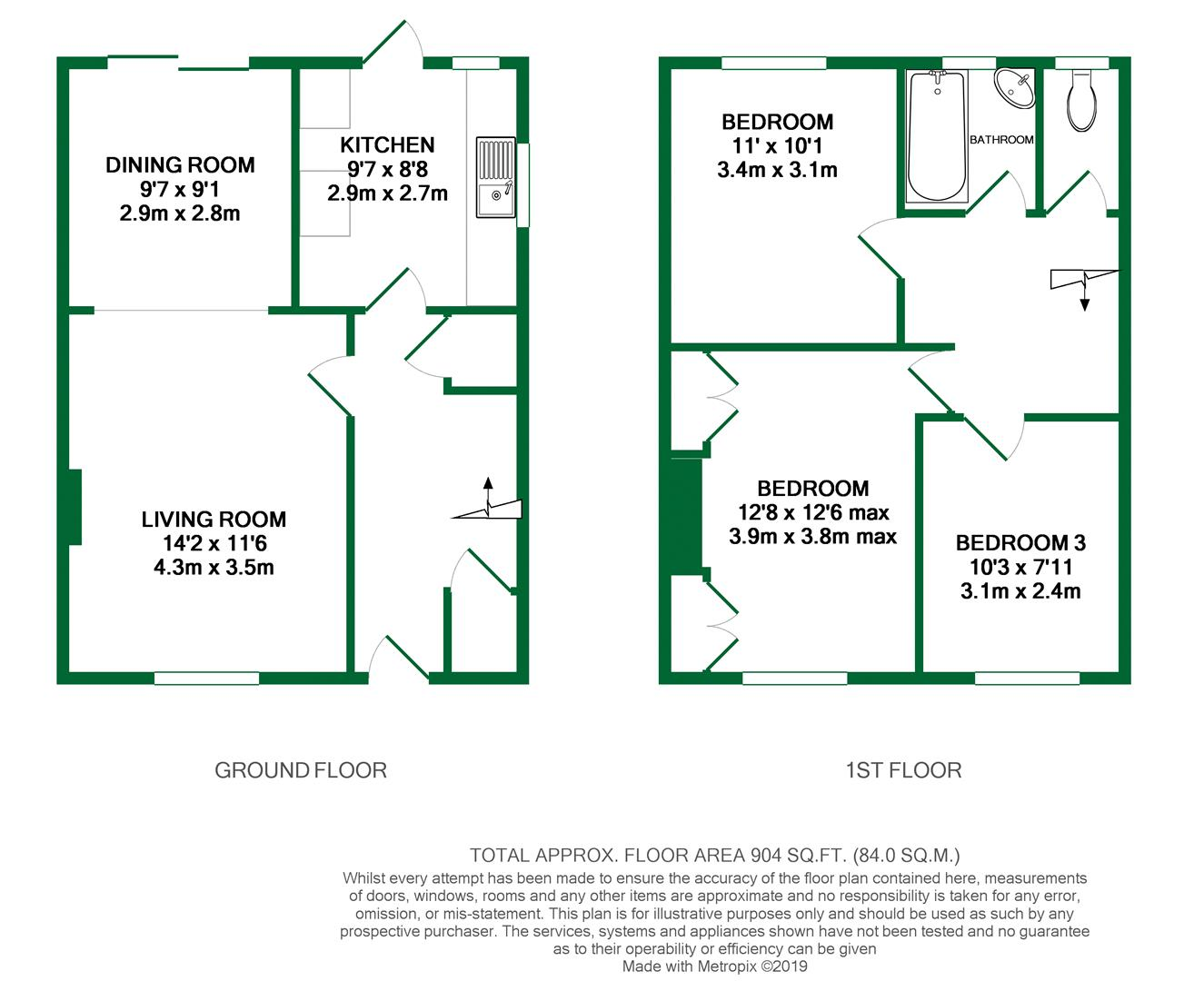 Floorplans For Fairwater Drive, Woodley, Reading